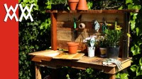 Make a rustic potting bench. DIY project using upcycled