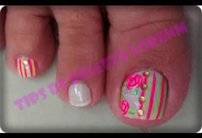 Uñas De Los Pies Decoradas Con Rosas Paso A Pasoroses Toe Nail Art