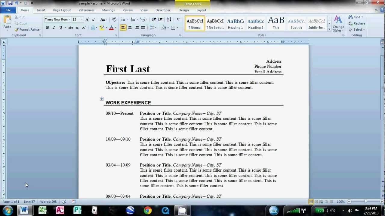 making resume using word