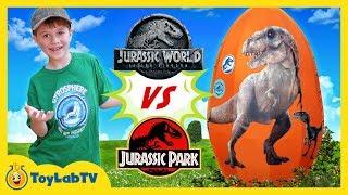 Jurassic World Fallen Kingdom vs Jurassic Park Dinosaurs! Giant T-Rex Dinosaur & Surprise Egg Toys