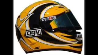 Vale 46 Valentino Rossi helmets during the years 1994 to 2010 Roadracing Moto GP