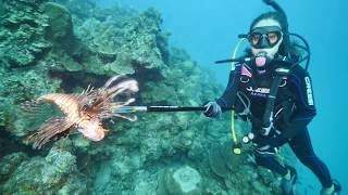 Shooting lionfish while scuba diving in the Caribbean