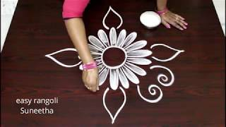 Beautiful n simple kolam    latest designs easy rangoli    cute muggulu