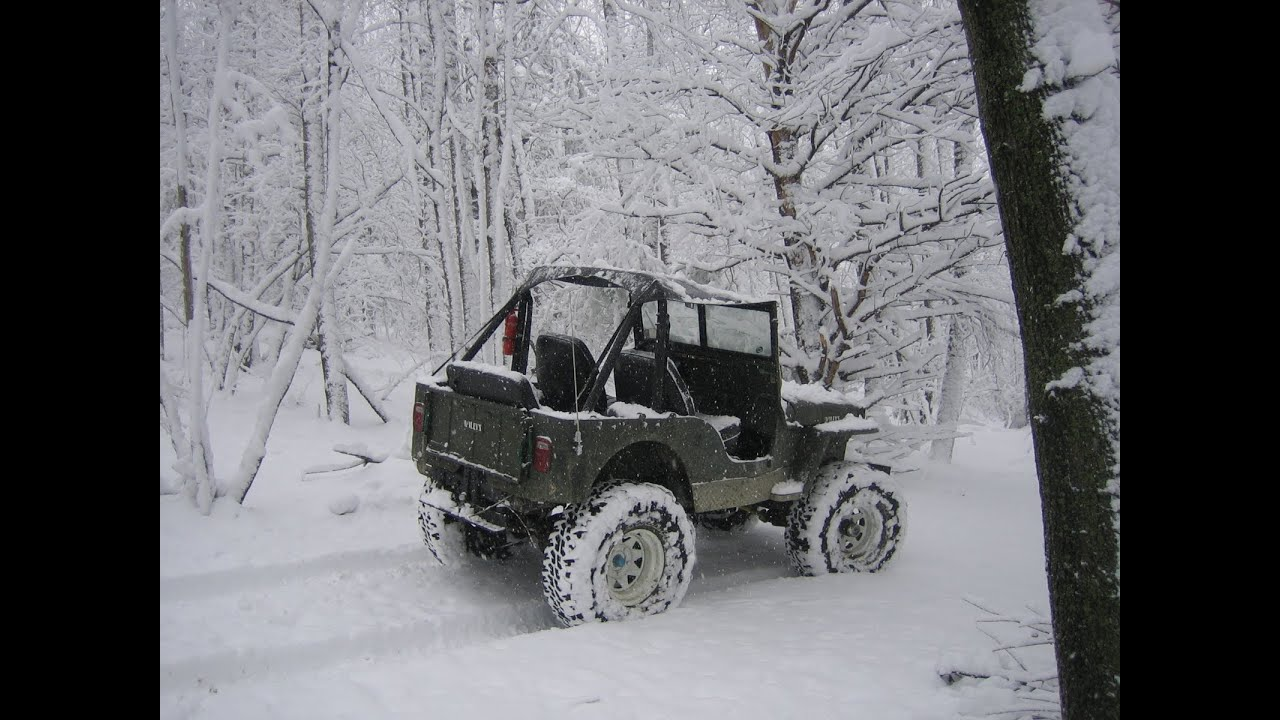 Willys Jeep Cj 2a Playing In The Snow