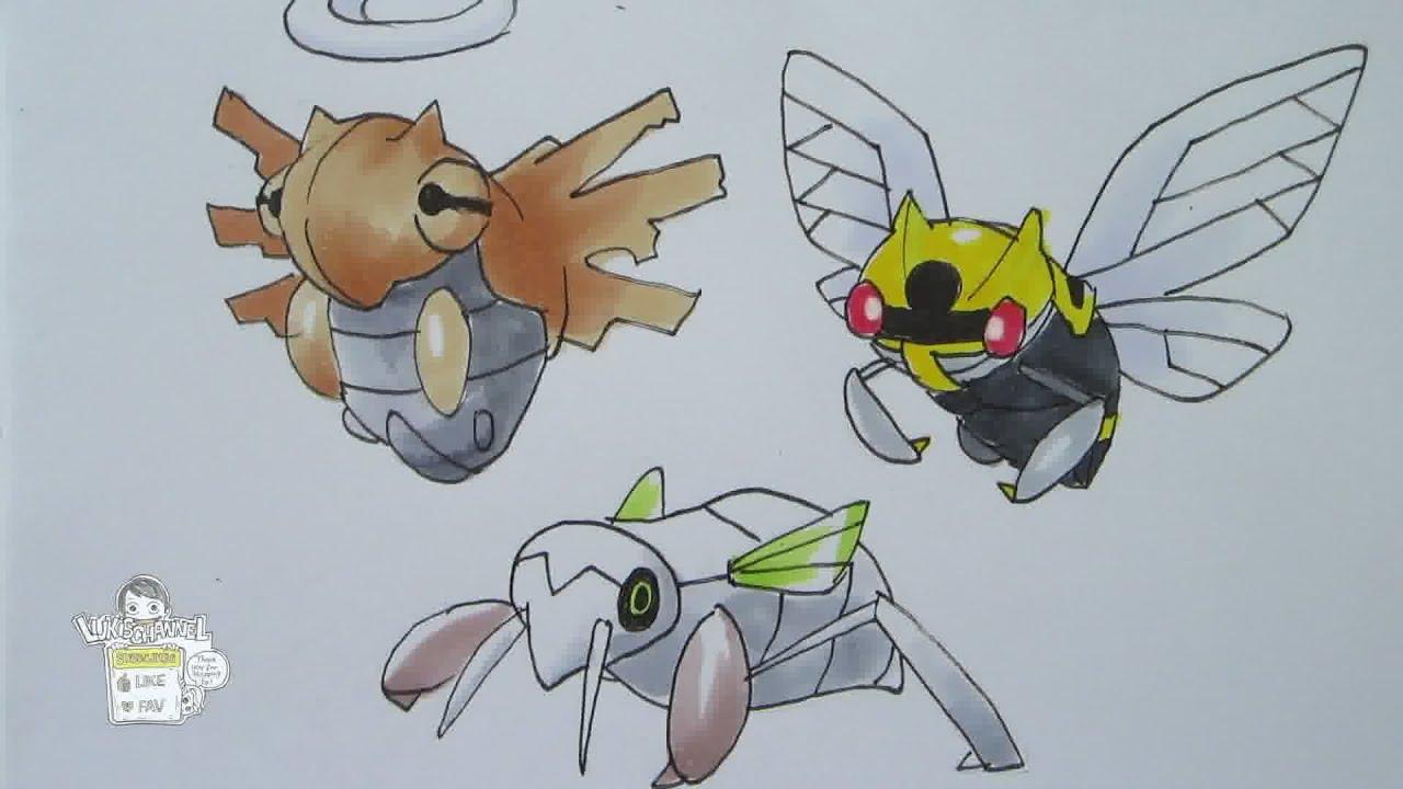 How to draw Pokemon: No. 290 Nincada. No. 291 Ninjask. No. 292 Shedinja - YouTube