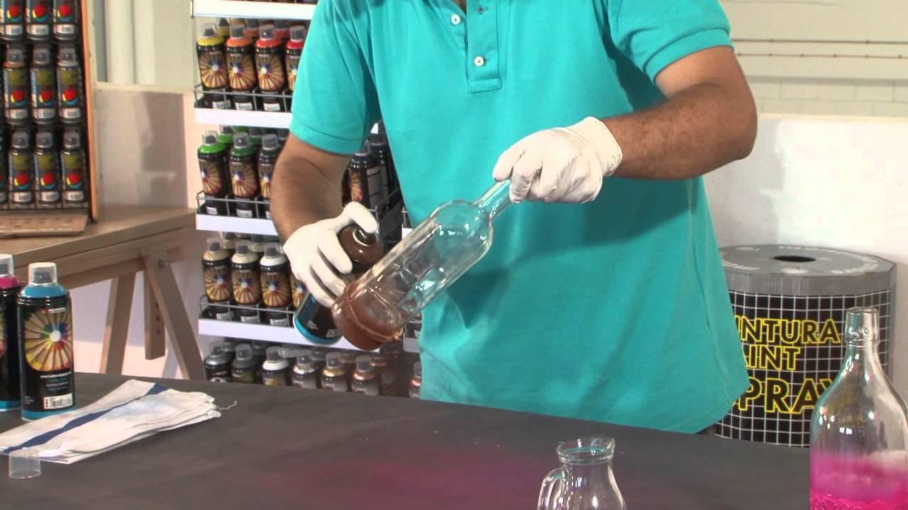 Tutorial Cmo decorar una botella de cristal con spray