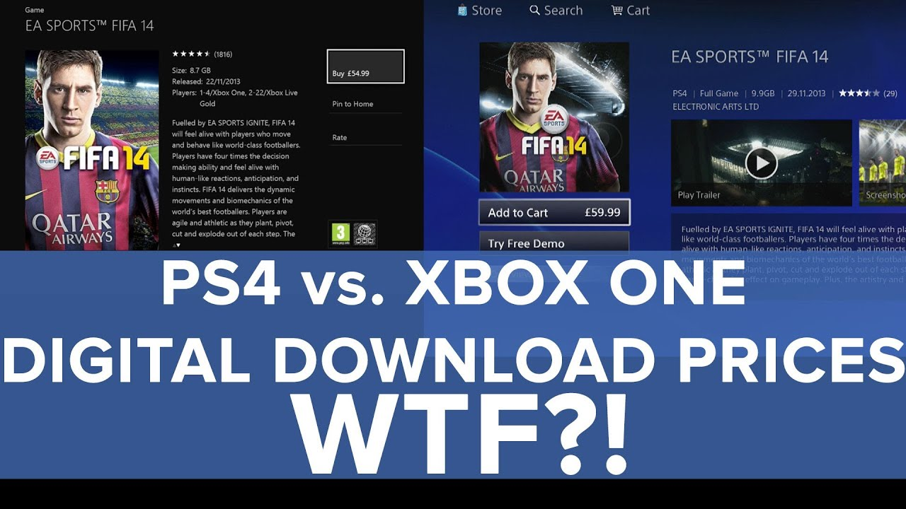 PS4 Vs Xbox One Digital Download Prices WTF