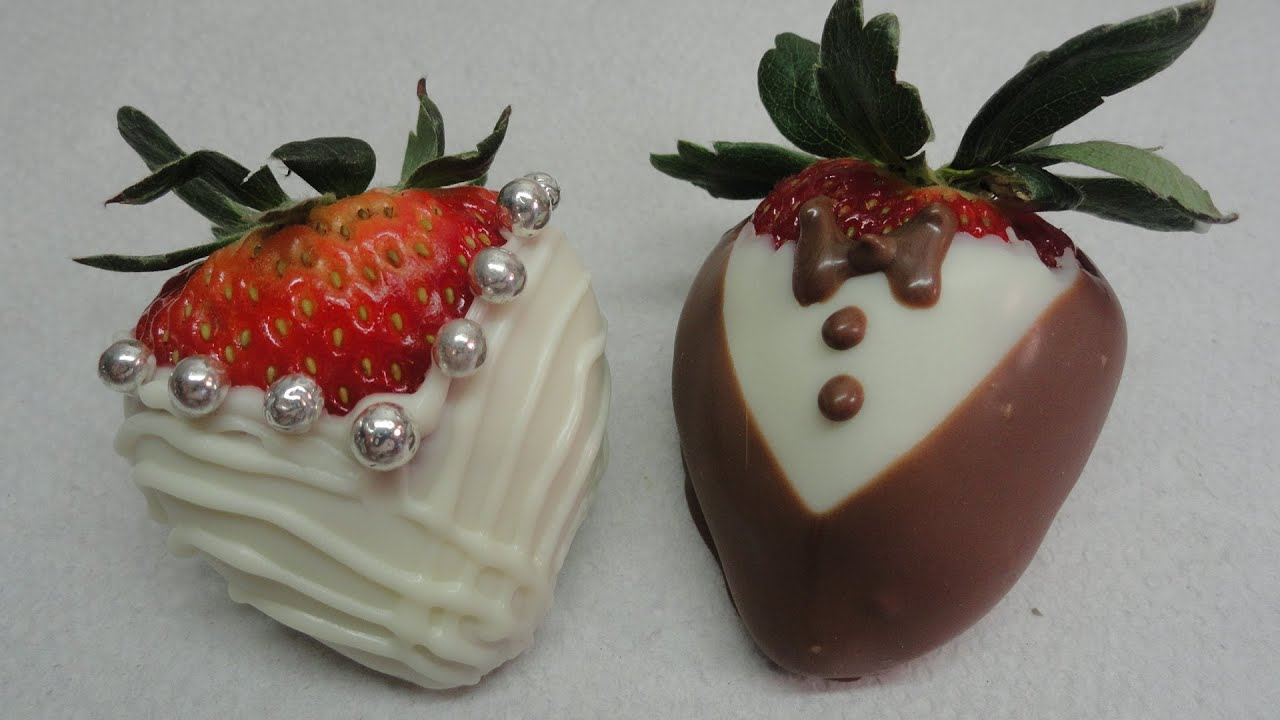 Dressed Up Chocolate Dipped Strawberries Bride and Groom  YouTube