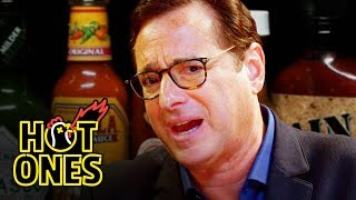 Bob Saget Hiccups Uncontrollably While Eating Spicy Wings | Hot Ones