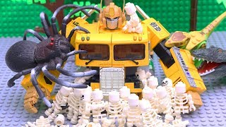 Transformers Bumblebee vs Optimus Prime Stop motion with Longhaul, Lego Skeleton Adventure Story!