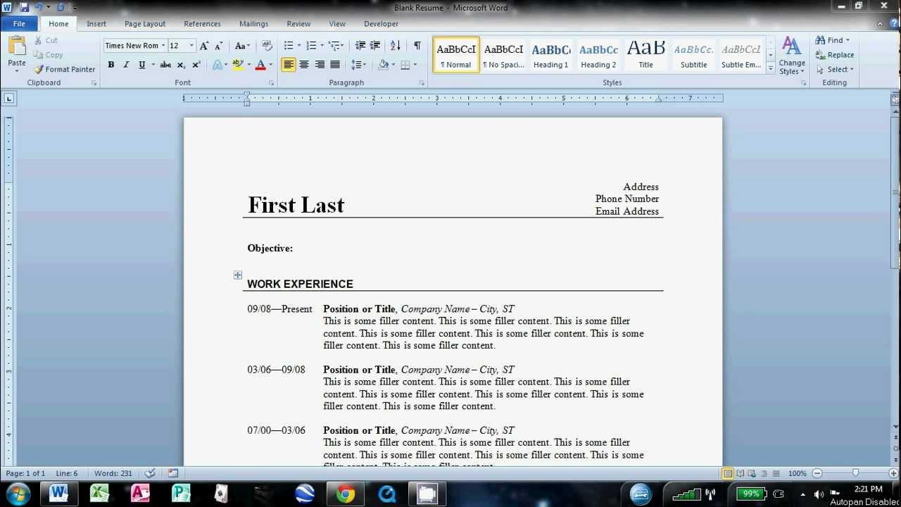 How to Write a Basic Resume in Microsoft Word 2010  YouTube