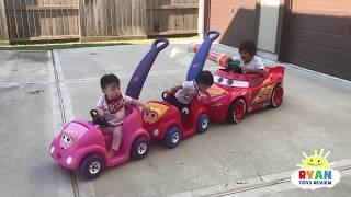 Ryan's Drive Thru Adventure with Lightning McQueen Power Wheels Ride On Car