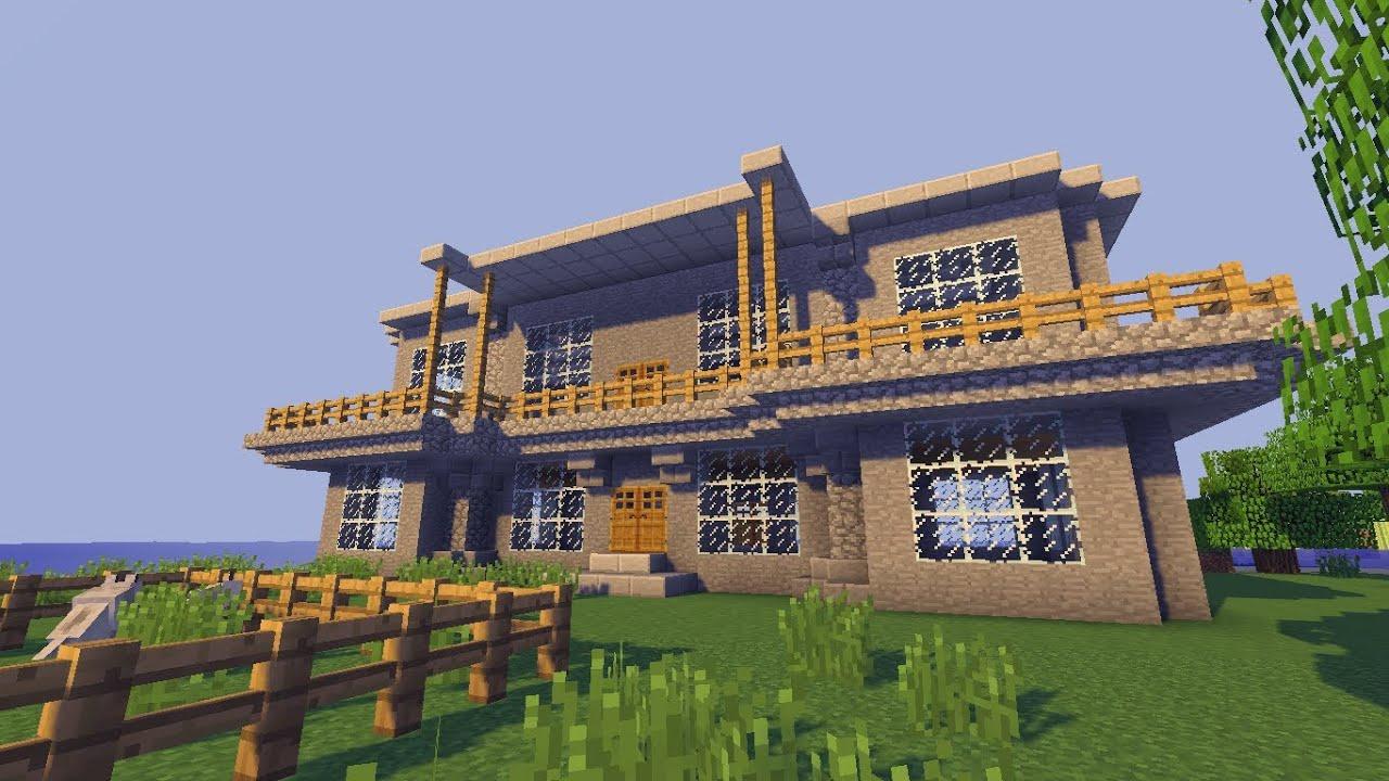 Minecraft Haus Bauen Tutorial Grau Weiss German Youtube Minecraft