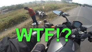 Helping a crashed motorcyclist - Weekend ride