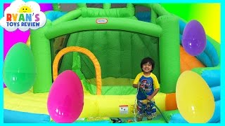 HUGE EGGS Surprise Toys Challenge with Inflatable water slide