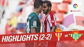 Resumen de Sporting de Gijón vs Real Betis (2-2)