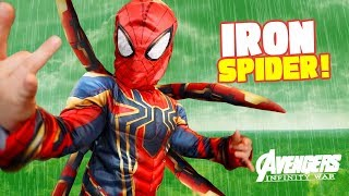 Iron Spider-Man?! Avengers Infinity War Movie Gear Test for Kids!
