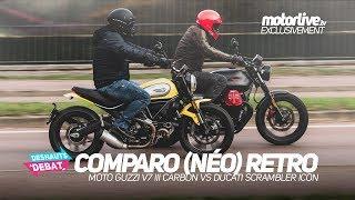 MOTO GUZZI V7 III CARBON vs DUCATI SCRAMBLER ICON   COMPARATIF