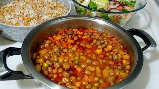 Misket köfteli bezelye İle Akşam yemeği Menüsü/Nohutlu pilav/Yeşillik Salatası/Seval Mutfakta