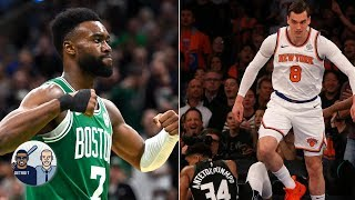 More disrespectful dunk on Giannis Antetokounmpo: Mario Hezonja or Jaylen Brown?   Jalen & Jacoby