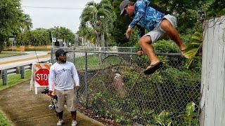 No Fishing Zone! Jumping Fences and Getting Chased by BEES in Miami - Ft. Monster Mike