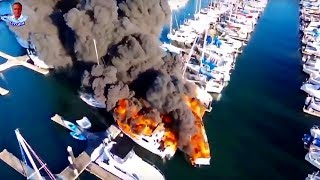Incredible Drone - Fire destroys boats at Everett Marina
