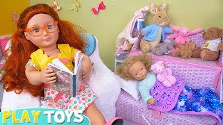 Baby Doll Mother & Daughter Evening Routine in Dollhouse!