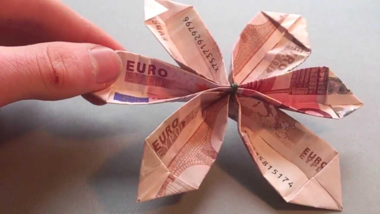 Bastelanleitung Blume aus Geld falten  Blume aus Origami machen  YouTube