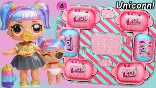 Unicorn Slime Custom LOL Surprise Dolls #Hairgoals makeover Series 5 Lil Sister Family