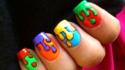 dripping paint colorful nail art