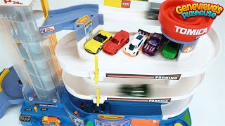 Play with Toy Cars on a Giant Tomica Playset and a Tayo Parking Garage!