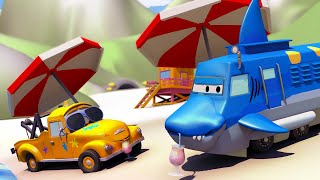 Car garage for kids - Troy is a Shark Truck - Tom's Paint Shop in Car City