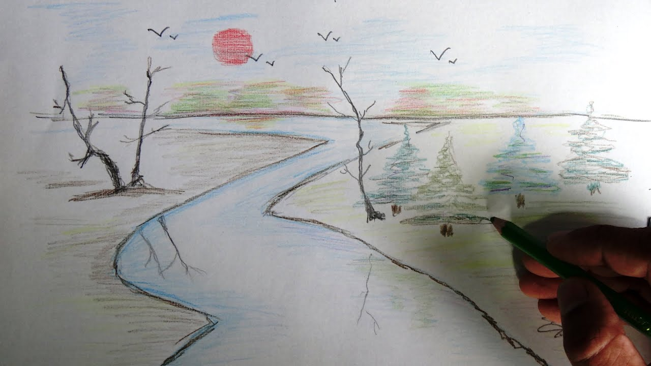 River Pencil Drawing Colored