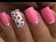 pink leopard nail art tutorial