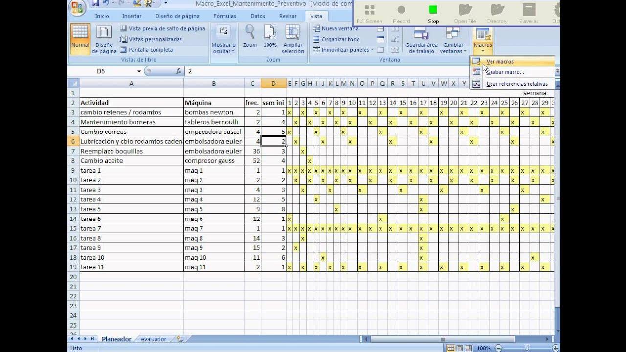 Macro Excel Mantenimiento Preventivo  YouTube