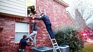 EMERGENCY FIRE RESCUE TRAINING!! SECOND STORY FIRE DRILLS!