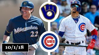 Milwaukee Brewers vs Chicago Cubs Highlights || NL Central Tiebreaker || October 1, 2018