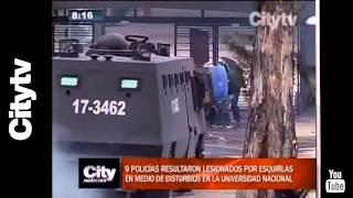 Citytv: 9 policías resultaron lesionados por esquirlas en medio de disturbios en la U. Nacional.