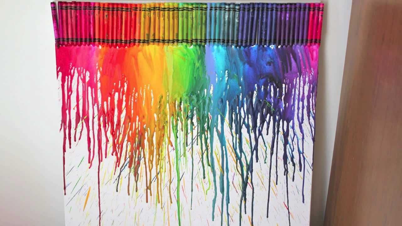 DIY Cuadro con crayolas derretidas decora tu habitacin