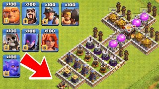 Who Can Survive This Difficult Trap on COC? Trap VS Troops #11
