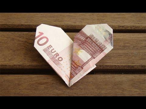 Geldscheine Falten Herz  YouTube