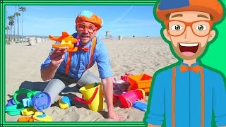 Download Blippi on the Beach with Sand Toys | Learning Colors for Children Video