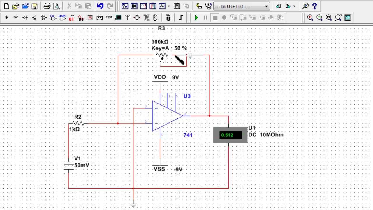OpAmp Circuit Design 1: Design and MultiSim Simulation of