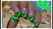 abstract nail art design green