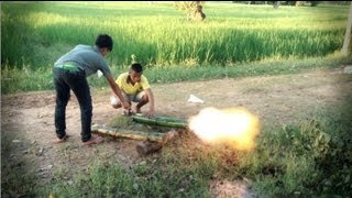 Acetylen Bamboo Cannon. Calcium Carbide + Water (SlowMo shockwave)
