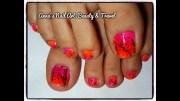bright flowers toe nail design