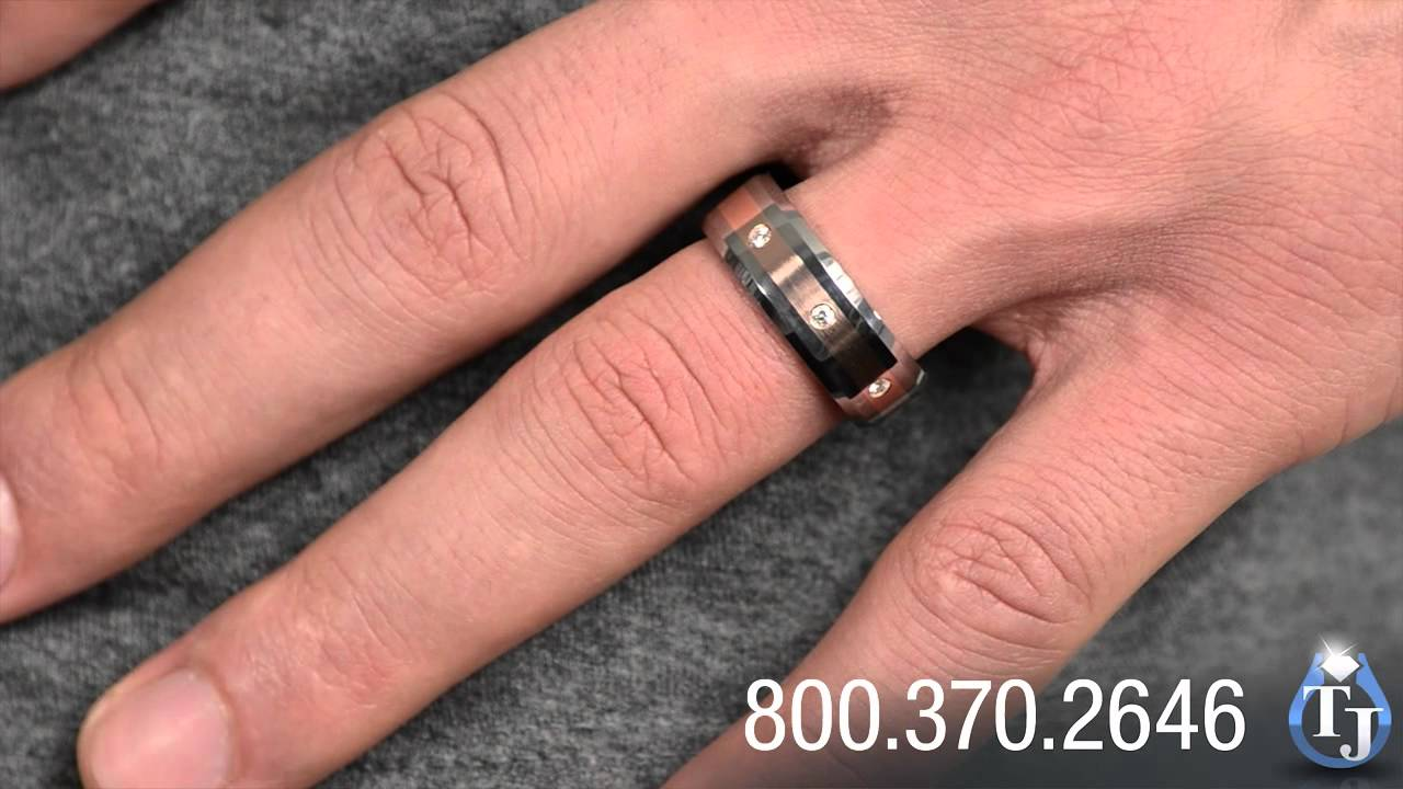 Mens Tungsten Wedding Band With Rose Gold And Diamonds By
