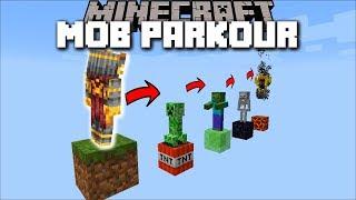 Minecraft MOB PARKOUR MOD / SPAWN A ZOMBIE, SKELETON, OR CREEPER !! Minecraft