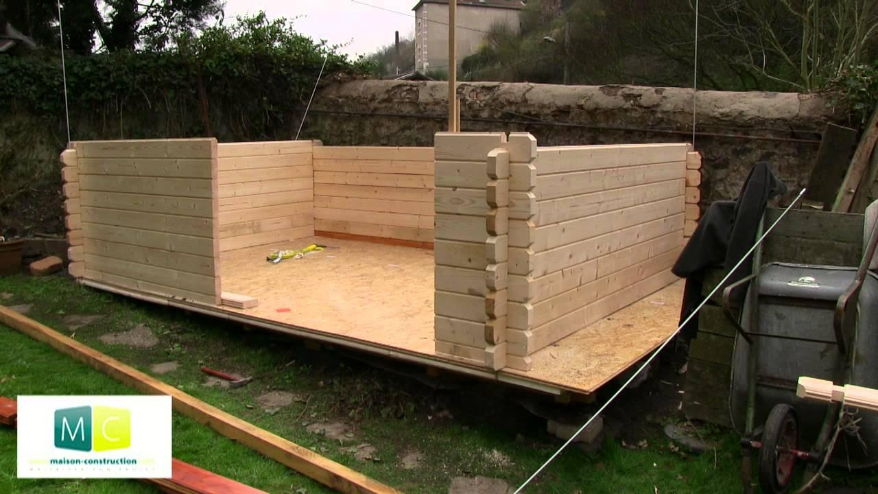 Montage chalet de jardin en bois madriers  YouTube