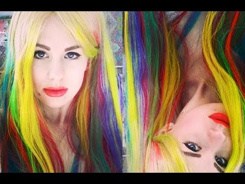 rainbow ombre dip dye hair tutorial all dolled up youtube